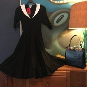 NWT Unique Vintage Full Skirt Swing Dress Black XS
